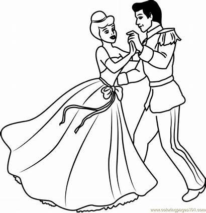 Cinderella Coloring Disney Couple Prince Pages Cartoon