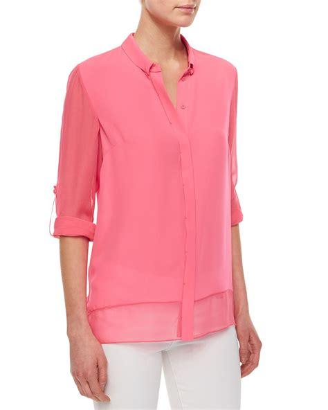 pink blouses elie tahari crista sleeve sheer blouse in pink lyst