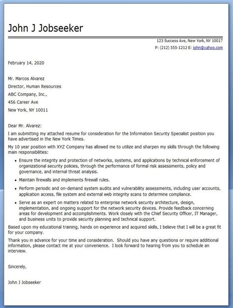 information security specialist cover letter creative