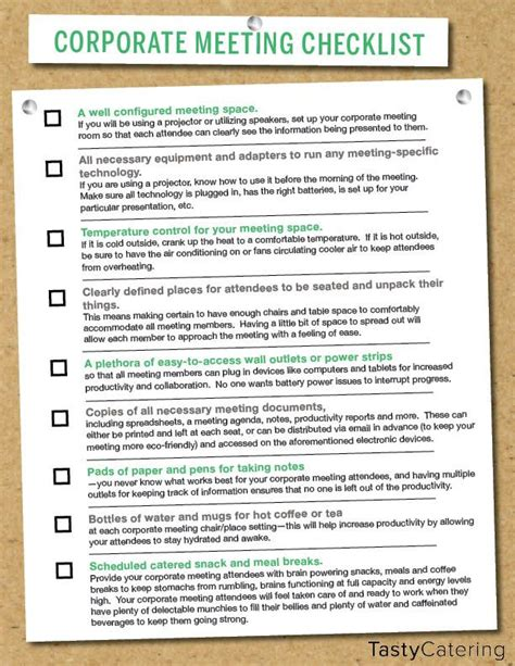 Checklist To Help Plan For A Corporate Meeting Planning