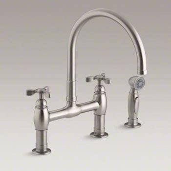 Kohler K 6131 3 VS Parq Deck Mount Bridge Kitchen Faucet