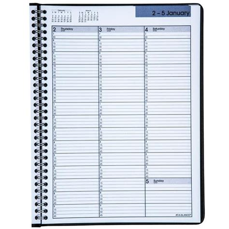 glance dayminder weekly appointment book black