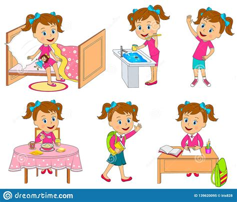 girl daily routine stock vector illustration  child