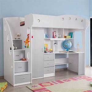 Lit Enfant Combiné : lit combin avec bureau et rangement couchage 90x190 cm ~ Farleysfitness.com Idées de Décoration