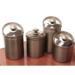 stoneware kitchen canisters kamenstein brushed bronze 4 kitchen canister set