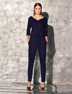 Pantalon De Soiree Chic : combinaison femme marine manches 3 4 ample qualit gatta brita s m l la t te et les jambes ~ Melissatoandfro.com Idées de Décoration