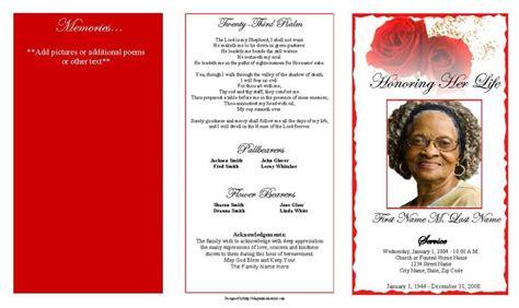 red rose trifold funeral program template elegant memorials