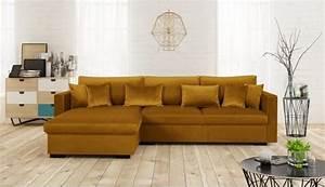 Canapé D Angle 5 Places : malma canap d 39 angle r versible 5 places velours jaune moutarde pas cher canap cdiscount ~ Teatrodelosmanantiales.com Idées de Décoration