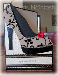 i made this using the template and video instructions on With high heel template for cards