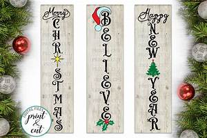 Merry, Christmas, Happy, New, Year, Believe, Bundle, Vertical, Sign, 151458