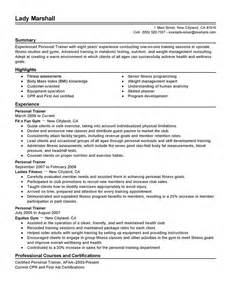 Personal Trainer Sales Resume by Personal Resume Objective Best Template Collection