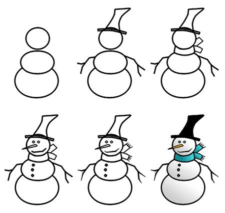 christmas pictures step by step drawing a snowman
