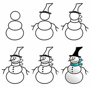 Drawing a cartoon snowman
