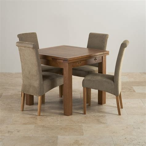 rustic dining set in real oak extending table 4 chairs