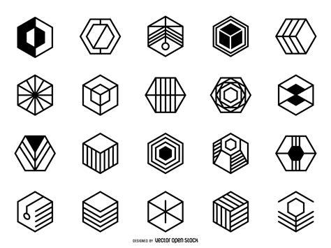 hexagonal logo set vector download