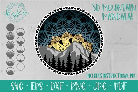 The design i use in this tutorial is the layered wheel mandala (design #192). 3D Mandala SVG, Layered Mountain SVG, Tree Silhouette ...