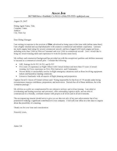 Pilot Cover Letter by Exles Of A Cover Letter For A Pilots Resume Pilot
