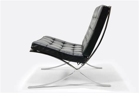 Lounge chair,modern pavilion atrium accent chair genuine leather stainless steel frame for livingroom bedroom office. Vintage   Knoll   Barcelona Chair   Black   Leather   The ...