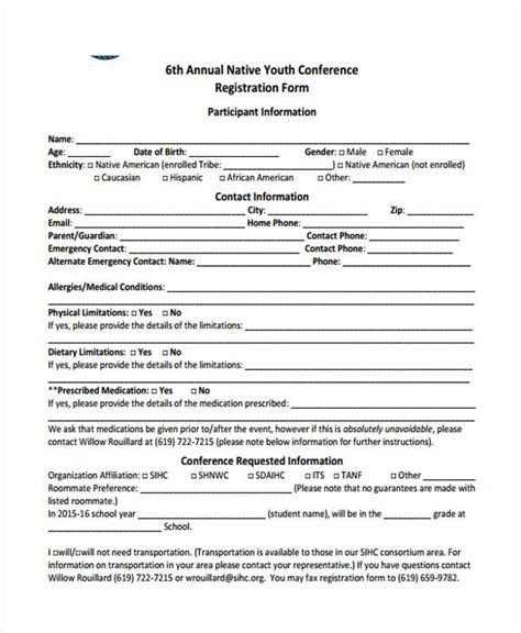 conference registration form   ms word excel