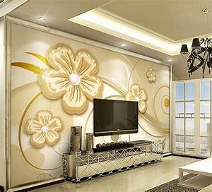 European 3d wallpaper pearl flowers custom 3d wall murals ...