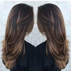 Long Deep Brown Hair With Tawny Brown Balayage And Lots Of