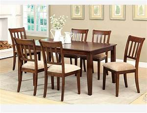 F 7 PC Brown Cherry Wood Dining Room Set Chairs Fabric