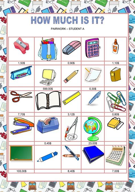 School  How Much Is It? Worksheet  Free Esl Printable