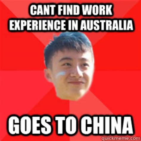 cant find work cant find work experience in australia goes to china