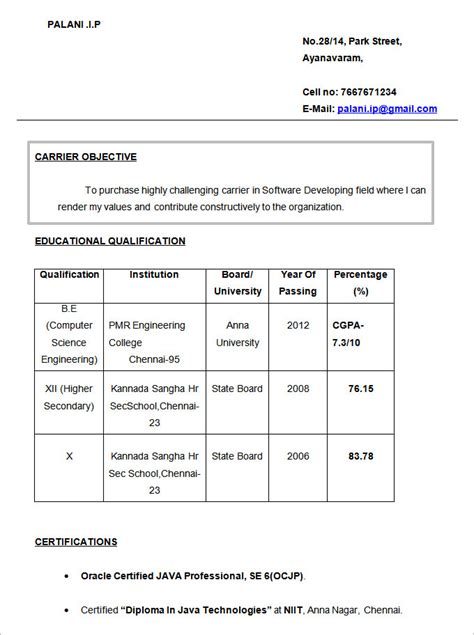 Career Objective For Fresher by Resume Format Doc For Banking Sector Danaya Us