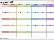 August 2017 Calendar Template calendar printable free