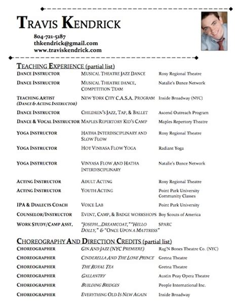 Professional Choreographer Resume by Choreography Resume T R A V I S K E N D R I C K