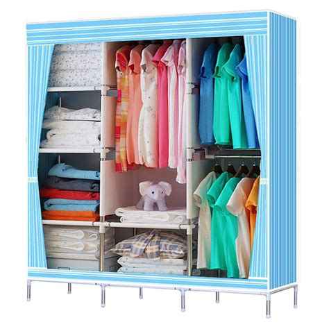 Small Cloth Cupboard by Portable Stainless Closet Garment Storage Wardrobe