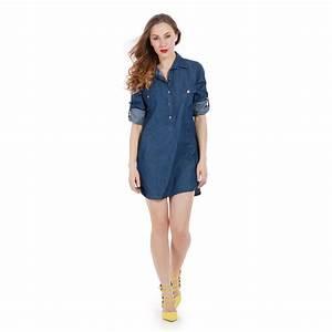 vetements femme robe chemise en jeans bleu fonce avec With robe bleu foncé