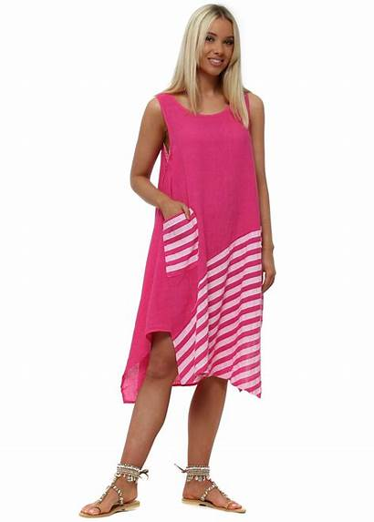 Linen Pink Italy Casual Shift Stripe Dresses