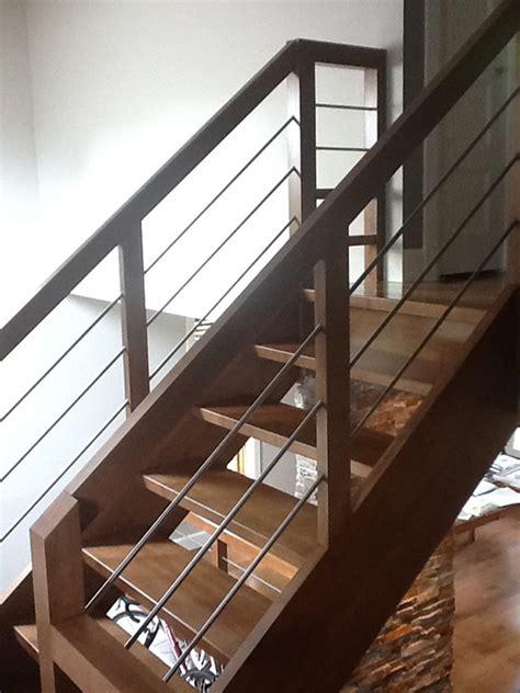 escalier moderne bois et inox boiseries sir laurier