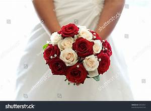 Beautiful Bouquet Red White Roses Held Stock Photo ...