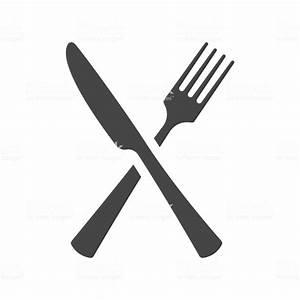 分離された交差のフォークとナイフのアイコン ベクトルの黒いシルエットは - アイコンのベクターアート素材や画像を多数 ...