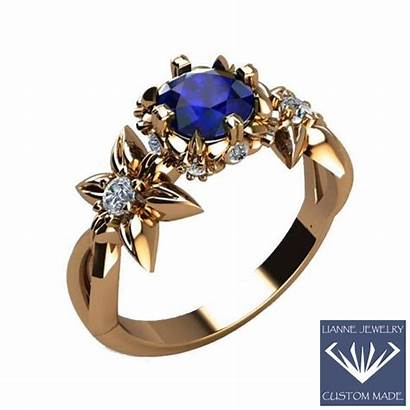 Ring Filigree Nouveau Gift Sapphire Rose Engagement
