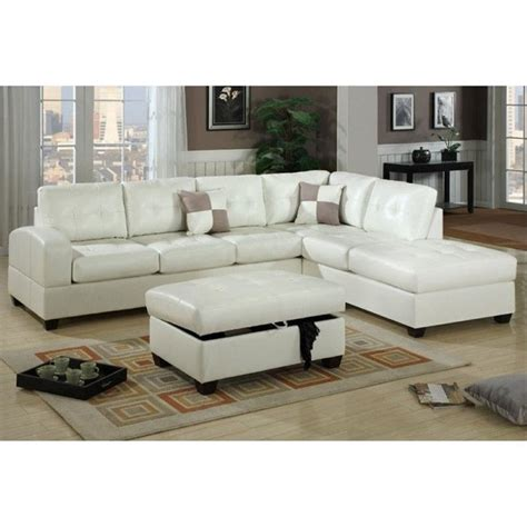 poundex bobkona athena leather sectional sofa with ottoman in white f7359 f7388 pkg