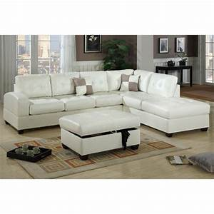 Poundex bobkona athena leather sectional sofa with ottoman for Poundex bobkona sectional sofa ottoman