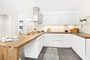 Cuisine Bois Et Blanc : cuisine cuisine blanc plan de travail bois cuisine blanc ~ Dailycaller-alerts.com Idées de Décoration