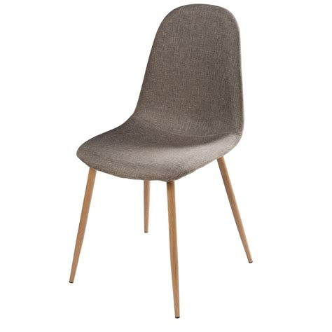 chaise maisons du monde grey fabric and faux wood metal chair clyde maisons du monde