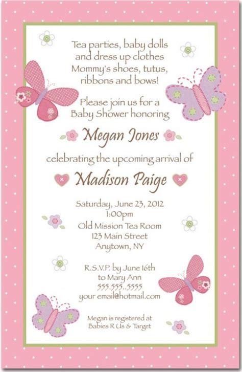 baby shower baby shower girl invitation wording