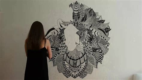 """Zentangle Inspired Mural """"lion Rohan"""" (speed Painting. Month Banners. Single Letter Logo. April 19 Signs Of Stroke. Hat Logo. Scenery Murals. Google Play Signs Of Stroke. Cities Logo. Letter Target Lettering"""