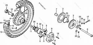 Honda Motorcycle 1977 Oem Parts Diagram For Rear Wheel