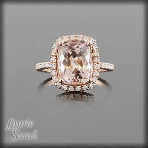 Morganite Ring, Cushion Cut Peach Morganite Engagement ...