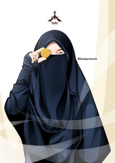 gambar kartun muslimah bercadar pakaian syari kartun