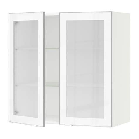 Ikea Kitchen Cabinet Doors Glass sektion wall cabinet with 2 glass doors white jutis