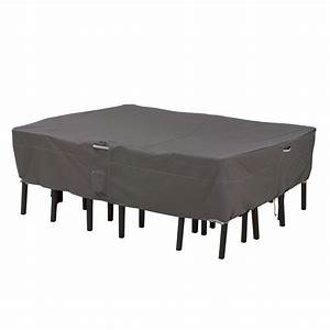 Classic accessories ravenna x large rectangular oval patio for Outdoor furniture covers in black