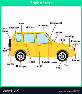Leaning Parts Of Car For Kids Worksheet Vector Image By